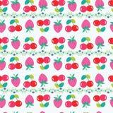 Modèle sans couture avec des fraises et des cerises illustration libre de droits