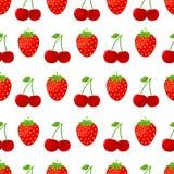 Modèle sans couture avec des fraises et des cerises illustration stock