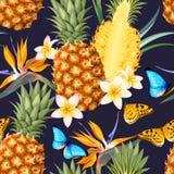 Modèle sans couture avec des fruits d'ananas illustration de vecteur