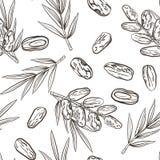 Modèle sans couture avec des fruits et des paumes de date illustration de vecteur