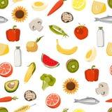 Modèle sans couture avec des fruits frais, légumes, nourriture du marché Illustration Stock