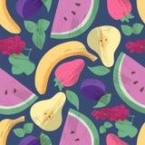 Modèle sans couture avec des fruts et des baies illustration libre de droits