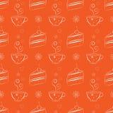 Modèle sans couture avec des gâteaux et des tasses de thé illustration de vecteur
