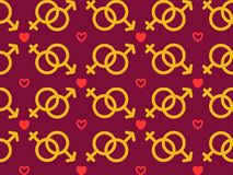 Modèle sans couture avec des icônes de sexe masculin et femelle Éléments pour la Saint-Valentin avec les symboles du coeur, chaîn illustration de vecteur