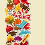 Modèle sans couture avec des icônes d'autocollant d'automne et Photographie stock libre de droits