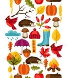 Modèle sans couture avec des icônes et des objets d'automne Photographie stock libre de droits