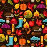 Modèle sans couture avec des icônes et des objets d'automne Image stock