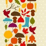 Modèle sans couture avec des icônes et des objets d'automne Images stock