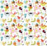 Modèle sans couture avec des insectes et des fleurs illustration stock