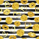 Modèle sans couture avec des lèvres, des roses et des coeurs d'or Photographie stock libre de droits