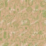 Modèle sans couture avec des légumes sur le fond beige Photo libre de droits