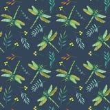 Modèle sans couture avec des libellules et des branches de vert d'aquarelle Photos libres de droits