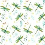 Modèle sans couture avec des libellules et des branches de vert d'aquarelle Photos stock