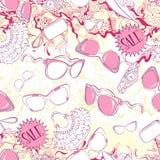 Modèle sans couture avec des lunettes de soleil de femmes et des accessoires de mode Photo stock