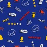 Modèle sans couture avec des médias et des mots et des symboles sociaux de réseau image stock
