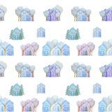 Modèle sans couture avec des maisons d'hiver dessinées avec les crayons colorés photographie stock libre de droits