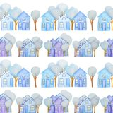 Modèle sans couture avec des maisons d'hiver dessinées avec les crayons colorés illustration stock