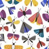 Modèle sans couture avec des mites de bande dessinée sur le fond blanc Contexte avec les papillons, insectes de vol avec les aile illustration de vecteur