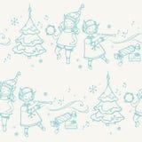 Modèle sans couture avec des musiciens d'elfes de Noël Photos stock