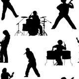 Modèle sans couture avec des musiciens de roche Photos libres de droits