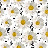 Modèle sans couture avec des notes et des marguerites de musique illustration libre de droits