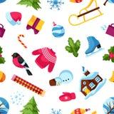 Modèle sans couture avec des objets d'hiver Articles de vacances de Joyeux Noël, de bonne année et symboles Images libres de droits