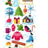 Modèle sans couture avec des objets d'hiver Articles de vacances de Joyeux Noël, de bonne année et symboles Photos libres de droits