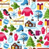 Modèle sans couture avec des objets d'hiver Articles de vacances de Joyeux Noël, de bonne année et symboles Photos stock