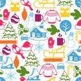 Modèle sans couture avec des objets d'hiver Articles de vacances de Joyeux Noël, de bonne année et symboles Photo libre de droits