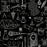 Modèle sans couture avec des objets de la science de vintage Équipement scientifique pour la physique et la chimie Illustration de Vecteur