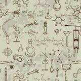 Modèle sans couture avec des objets de la science de vintage Équipement scientifique pour la physique et la chimie Photos libres de droits