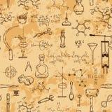Modèle sans couture avec des objets de la science de vintage Équipement scientifique pour la physique et la chimie Images stock