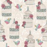 Modèle sans couture avec des oiseaux, des cages à oiseaux et des roses Photos stock