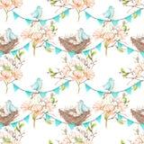 Modèle sans couture avec des oiseaux, des nids et des oeufs sur les guirlandes des drapeaux bleus Photos stock