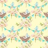 Modèle sans couture avec des oiseaux, des nids et des oeufs sur les guirlandes des drapeaux bleus sur des branches d'arbre de mag Image libre de droits