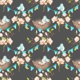 Modèle sans couture avec des oiseaux, des nids et des oeufs sur les guirlandes des drapeaux bleus sur des branches d'arbre de mag Photos stock