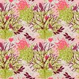 Modèle sans couture avec des oiseaux et des arbres de floraison illustration libre de droits