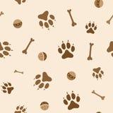 Modèle sans couture avec des os et des boules de pattes de chien illustration de vecteur