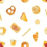 Modèle sans couture avec des pains appétissants, la pâtisserie douce cuite au four et les desserts faits de pâte de divers types  illustration de vecteur