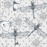 Modèle sans couture avec des papillons et Images stock