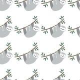 Modèle sans couture avec des paresses mignonnes de bébé accrochant sur l'arbre fond animal adorable dans le style puéril Forêt tr illustration libre de droits