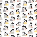 Modèle sans couture avec des personnes dans l'amour Contexte avec les couples ou les hommes et les femmes romantiques de caresse  illustration libre de droits