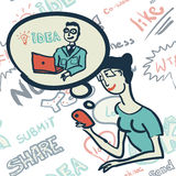 Modèle sans couture avec des personnes sur le sujet de l'Internet Image libre de droits