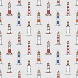 Modèle sans couture avec des phares de divers types sur le fond clair Contexte avec des tours ou des constructions pour la marine illustration de vecteur
