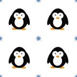 Modèle sans couture avec des pingouins et des flocons de neige Illustration mignonne de bande dessinée de pingouin Modèle d'anima illustration stock