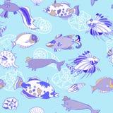 Modèle sans couture avec des poissons de bleu de coquilles de coque Photographie stock