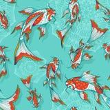 Modèle sans couture avec des poissons de koi Photographie stock libre de droits