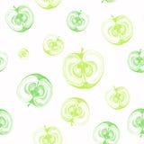 Modèle sans couture avec des pommes coupées dans la moitié Images libres de droits