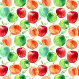 Modèle sans couture avec des pommes et des graines Photo de nourriture Photographie stock