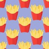 Modèle sans couture avec des pommes frites Photo libre de droits
